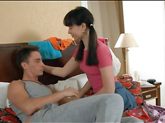 After playing with lad's dick, neat legal age teenager angel gets drilled well