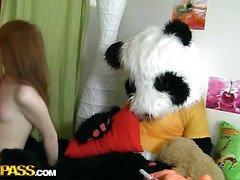 A cute teenage gal masturbating - that's smth that can make anyone rock-hard! The undressed lascivious sweetheart fucked her trickling slit with a biggest sextoy, then fell asleep. What happened later could have been her dream, 'cuz it's likewise weird. Her much loved toy, a massive panda bear, came alive and plunged into joy fucking with the oversexed chick. This Dude made the amused gal engulf his large darksome dong, then hammered the hawt legal age teenager's creamy muff. Wow, sex with large toys has not at any time looked so damn hot!...