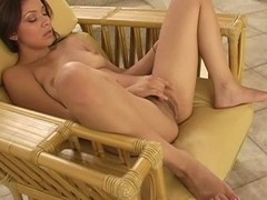 Beauty is exposing her delights and play with tireless sex tool