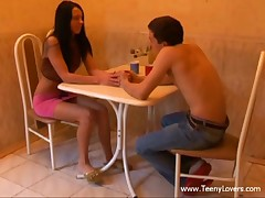Those teenies' date was all so lovely romantic and stuff up to their 1st kiss. From then on the excitement took over and they just completely lost control virtually ripping off their garments to have a enjoyment oral job sex on a table and fuck on a tiny kitchen chair. Not comfy sufficiently? Who cares when a large juvenile penis is so unfathomable in that narrow legal age teenager cum-hole and the hotty is about to cum hard when her lewd boyfriend nails her from behind. Yep baby!