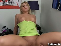 Sexy blonde rides on stud's schlong like a pro