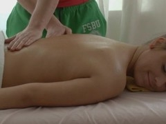 Lass is very aroused after massage and acquires wild fucking