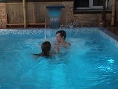 Large and precious swimming pool is used by a legal age teenager playgirl for a sexy fuck