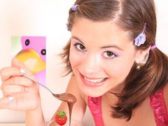 Very tiny beauty Caprice gets overspread with chocolate and touches her miniature snatch